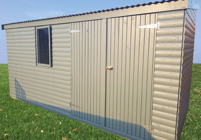 Toolshed (1.8m x 4.2m) with Colorbond roofsheets and 21 x 90mm Halflog painted to match the house colour