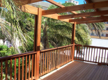 Garapa deck with pine balustrade & pine pergola