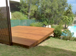 Garapa deck painted with Rubol varnish and trellis screen