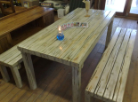 Interior/exterior table and benches with white wash finish